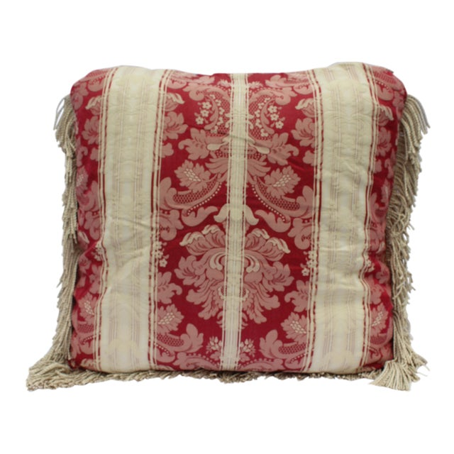 Italian Silk Down Pillow in Dark Red and Cream With Long Silk Rope Fringe For Sale