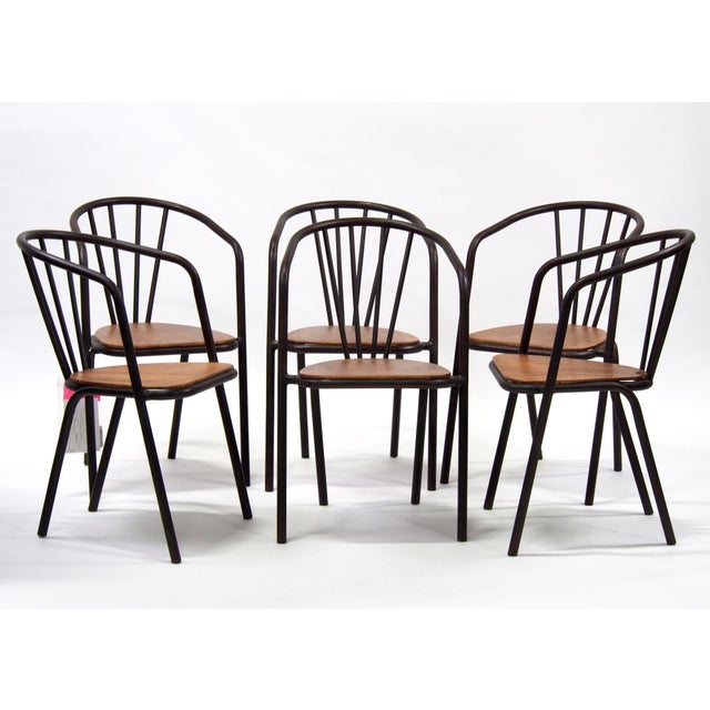 Gold Mid-Century Metal and Wood Armchairs - Set of 6 For Sale - Image 8 of 9