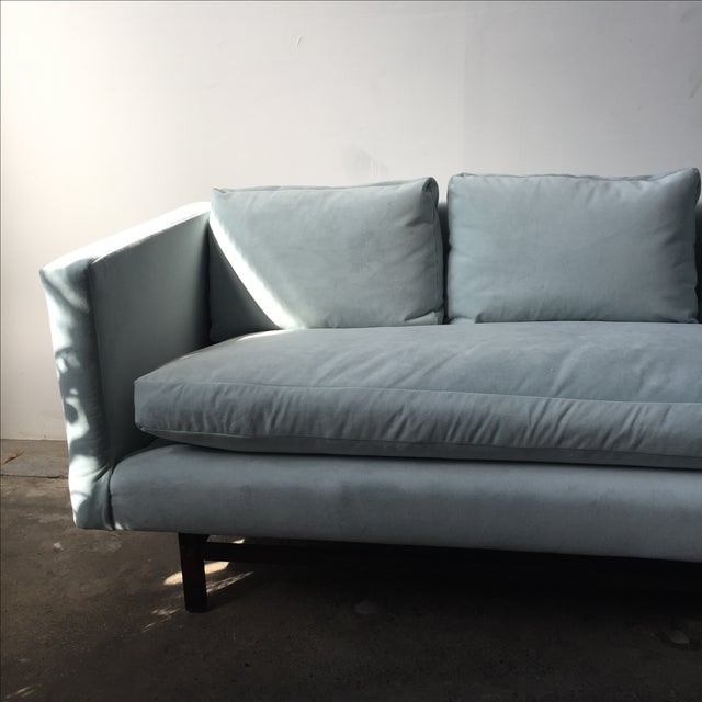Mid-Century Rosewood Sofa in Mint Microsuede - Image 5 of 10