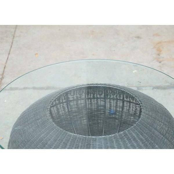 Contemporary Mid-Century Modern Style Wire Weave Glass Table For Sale - Image 3 of 8