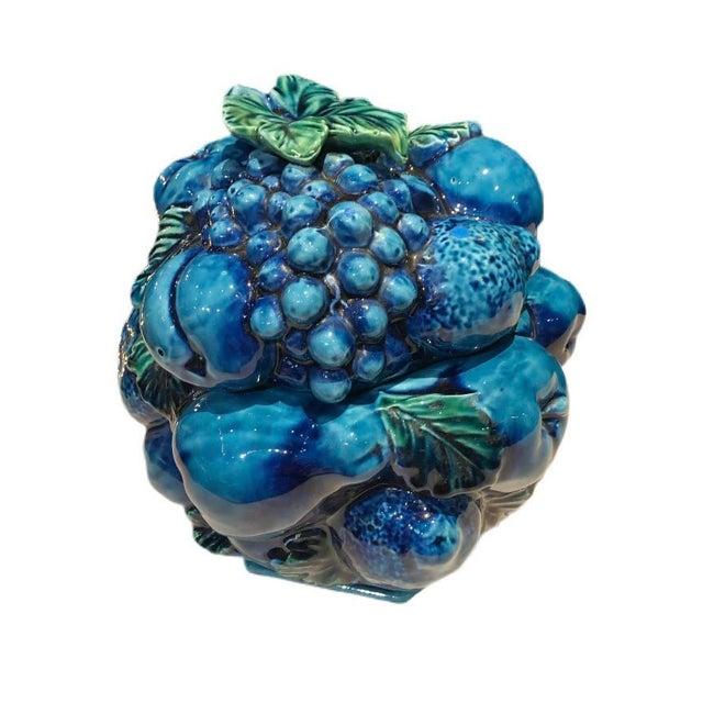 Blue Vintage Blue Green Inarco Fruit Basket Cookie Jar For Sale - Image 8 of 8