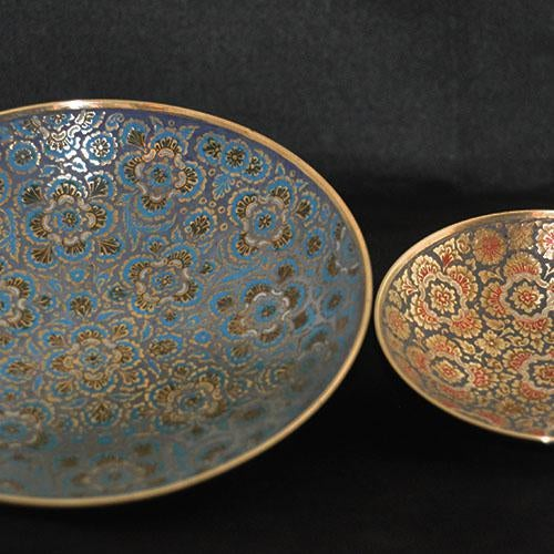 Set of Hand-Etched Enameled Brass Bowls - Image 6 of 6