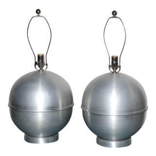 Russel Wright Style Round Machine Age Spun Aluminium Table Lamps, 1950s - a Pair For Sale