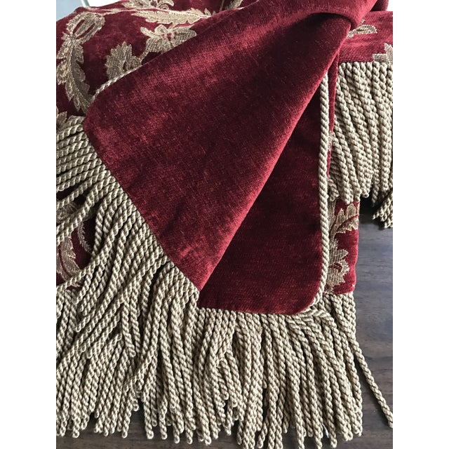 Velvet Floral Red and Gold Throw - Image 6 of 8