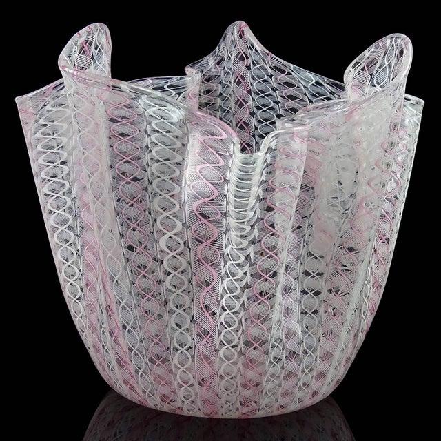 Beautiful large Murano hand blown pink and white Zanfirico ribbons Italian art glass fazzoletto / handkerchief vase....