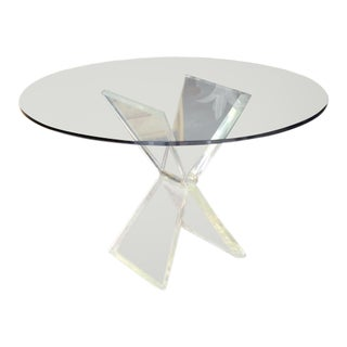 Lucite X-Base Base Gueridon Center Dining Table For Sale