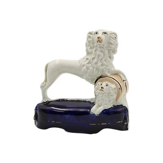 Rare Staffordshire Circus Act Poodle W/ Pup - C.1850