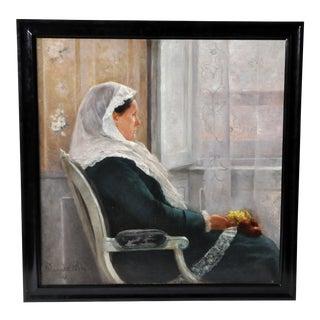 """Dame Devant Unde Fenetre"" by Fernand Blayn For Sale"