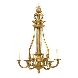 Russian Neoclassic Style Ormolu Lyre Form Six-Arm Chandelier For Sale