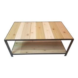 Industrial Metal and Wood Coastal Coffee Table