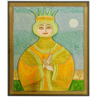 Mid-Century Signed 3d Painting of a Queen by John Nartker For Sale