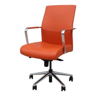 Keilhauer Modern Vanilla Ergonomic Orange Leather Executive Desk Chair For Sale