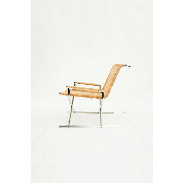 Ward Bennett Sled Lounge Chair for Brickel Associates / Chrome / Wicker / Rattan Stunning chrome and wicker sled lounge...
