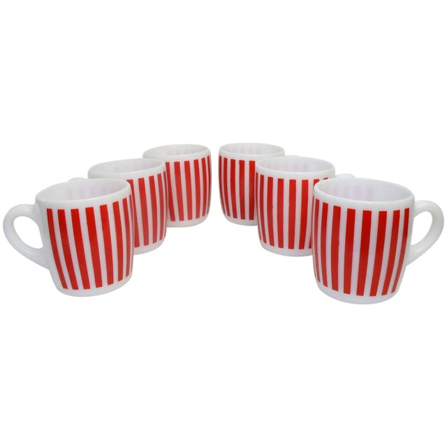 Hazel Atlas Red Striped Milk Glass Mugs – Set of 6 - Image 1 of 5