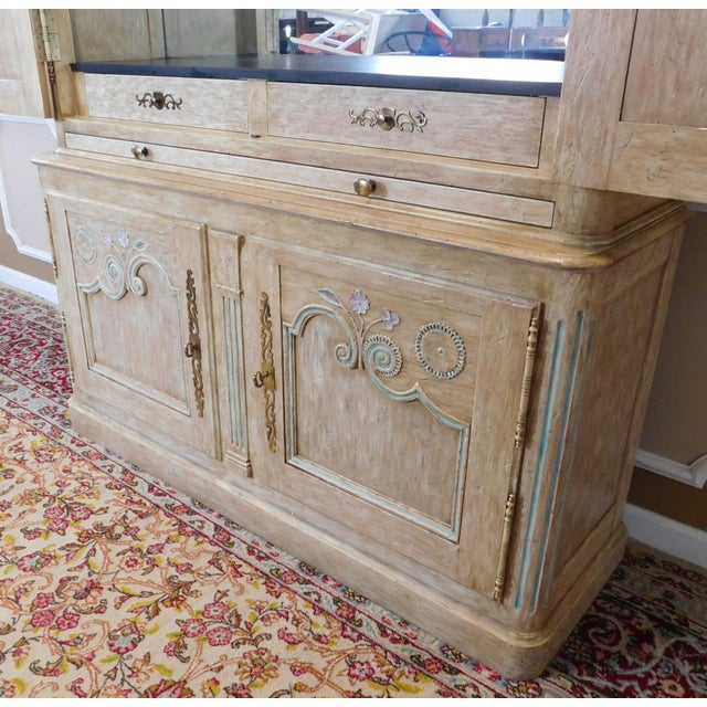 Tan Country French Baker Furniture Paint Decorated Armoire Bar Cabinet For Sale - Image 8 of 9