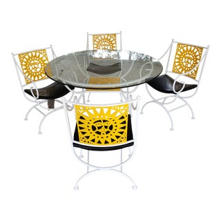 Author Umannoff Cast Iron Patio Set in the Sun Pattern - 5 Pieces For Sale