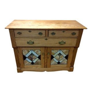 "Decorative Oak Cabinet With ""Stained Glass"" Accents"