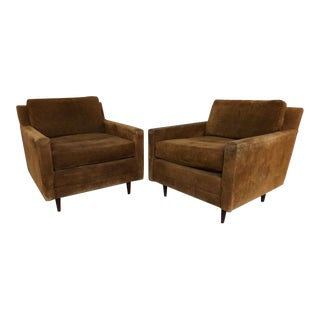 Milo Baughman by Sedgefield Suede Leather Chairs - a Pair For Sale