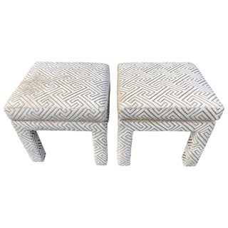 Pair of Mid Century Pillow Top Ottomans For Sale