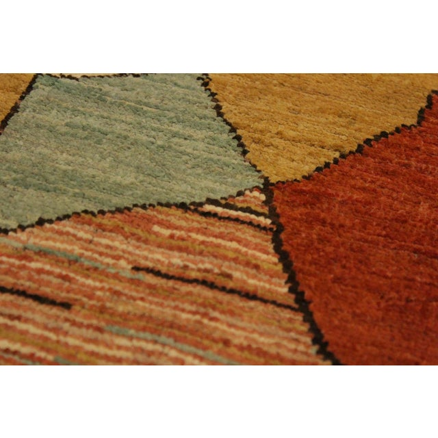 Gabbeh Peshawar Gerry Orange/Gold Hand-Knotted Wool Rug -3'0 X 4'5 For Sale - Image 4 of 8