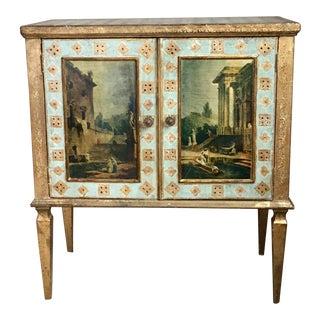 Mid-Century Florentia Sky Blue & Gilt Painted Cabinet For Sale