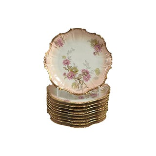 Antique French Pink and 24k Gold Limoges Plates - Set of 10 For Sale