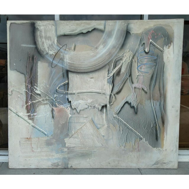 Gray Oversized Abstract Painting Sing by the Artist From 1980's For Sale - Image 8 of 8