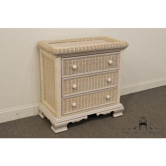 Pennsylvania House 20th Century Country Pennsylvania House White Wicker Nightstand For Sale - Image 4 of 13