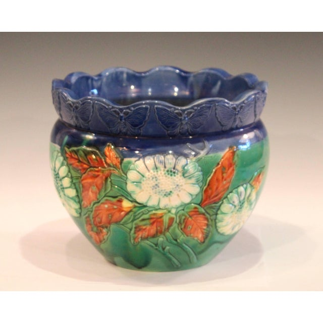 Blue Awaji Pottery Jardiniere Applied Butterflies Blossoms Planter For Sale - Image 8 of 9