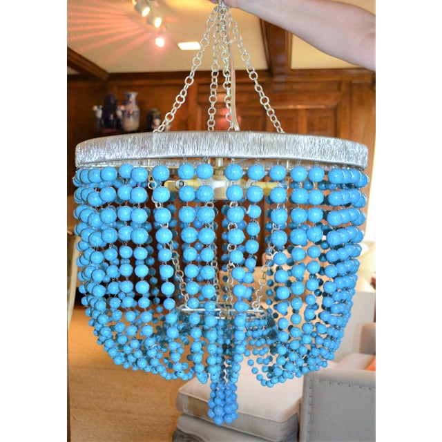 Arteriors Home Turquoise Beaded Four Light Chandelier - Image 4 of 11