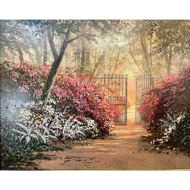 Late 20th Century Juan Archuleta Gates and Garden Painting For Sale - Image 5 of 13