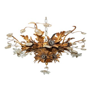 1940s Maison Bagues 15 Light Flower & Glass Leaves Chandelier For Sale