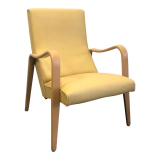 Mid-Century Yellow Thonet Bentwood Lounge Chair For Sale
