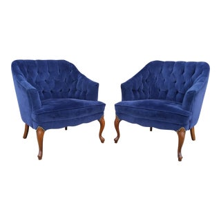 1970s Tufted Velvet Club Chairs - a Pair For Sale