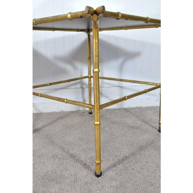 Pair Vintage Italian Hollywood Regency Faux Bamboo Gold Gilt Mirror Side Tables For Sale - Image 10 of 12