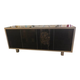Vintage Brutalist Signed Pia Manu Ceramic Slate Sculpted Credenza Sideboard Buffet For Sale