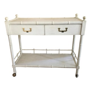 John Widdicomb Faux Bamboo Bar Cart Server For Sale