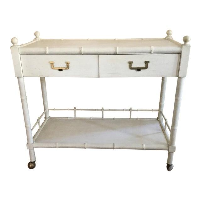 John Widdicomb Faux Bamboo Bar Cart Server - Image 1 of 11