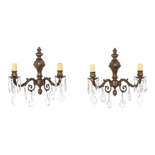 Pair of Vintage Italian Bronze and Crystal Sconces For Sale