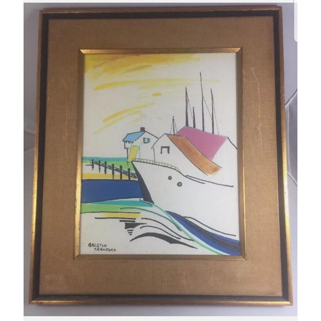 1960s Nautical Watercolor Painting by Ralston Crawford, Framed For Sale - Image 9 of 9
