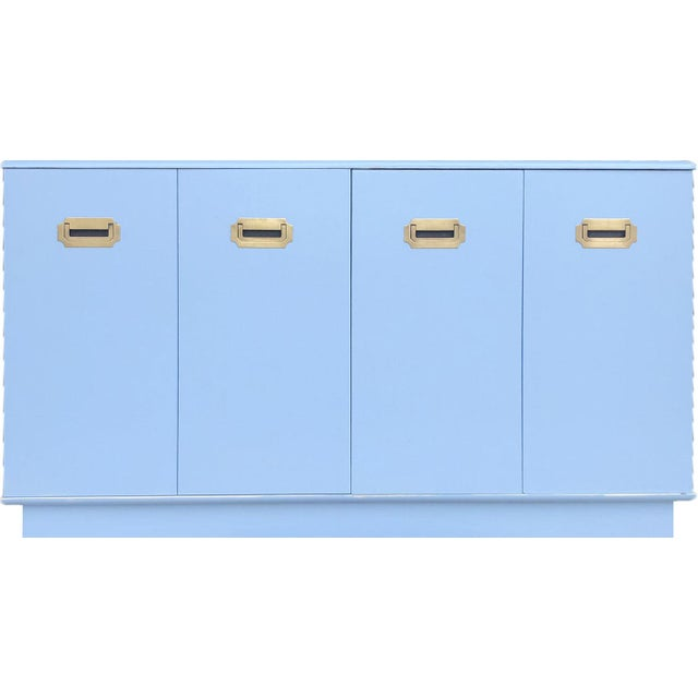 1960s Campaign Style Mid-Century Modern Credenza in Blue For Sale - Image 9 of 9