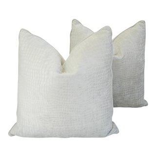 """Hollywood Boho Chic Bone White Crocodile Velvet Feather/Down Pillows 24"""" Square - a Pair For Sale"""