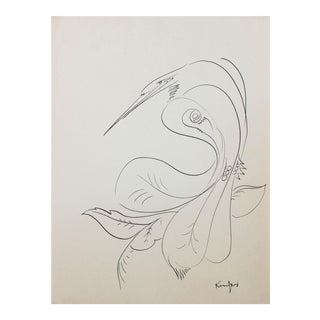 Minimal Bird Illustration in Ink, Circa 1970s For Sale