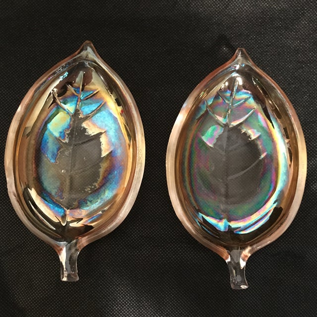 Carnival Glass Leaf Dishes - a Pair For Sale - Image 4 of 6