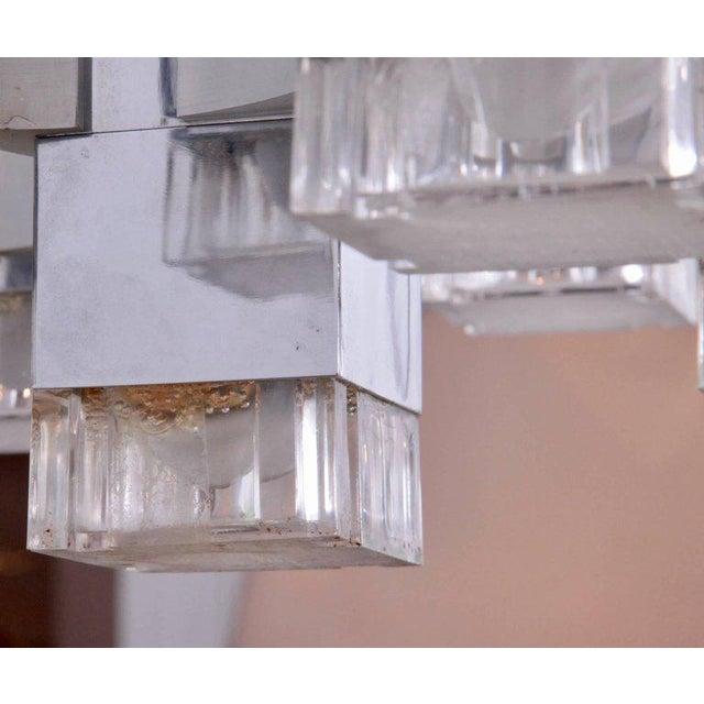 "1960s Gaetano Sciolari Chrome ""Cubic"" Chandelier For Sale - Image 5 of 8"