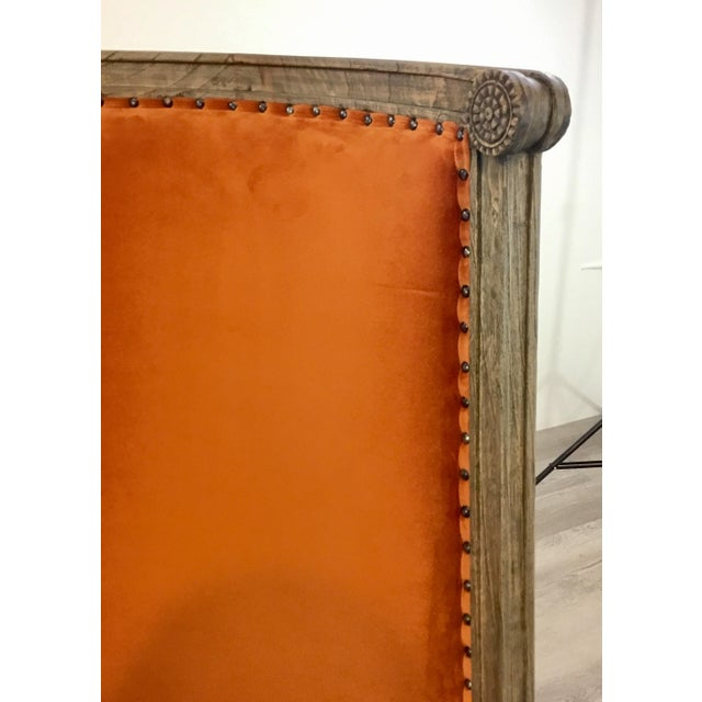 French French Style Modern Orange Velvet High Back Lounge Chair For Sale - Image 3 of 8