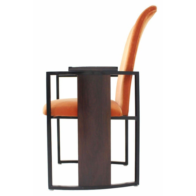 Set of Six Mid-Century Modern Metal and Rosewood Frame Dining Chairs For Sale In New York - Image 6 of 10