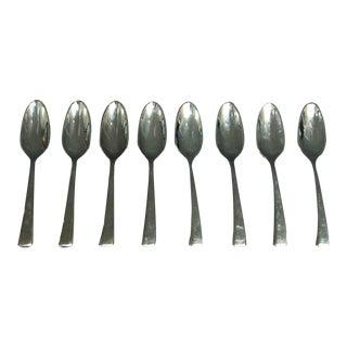 Salvaged Waldorf Brand New Sambonet Demitasse Spoon Set of 8 For Sale
