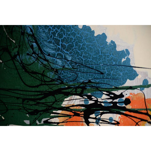 Masonite Abstract Expressionist Oil Painting by Van Winkle C.1950s For Sale - Image 7 of 12