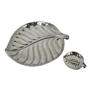 Silver-Plate Palm Leave Style Serving Trays - a Pair For Sale